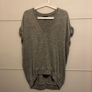 Wilfred Free Gray V-Neck Short Sleeve Sweater
